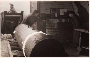 This appears to be a 4000lb bomb being prepared to be taken out and loaded onto an aircraft.