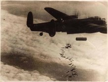 This is a 4000lb bomb being dropped along with incendiaries on the 1000 bomber raid. The photograph was taken high above Duisburg on 10th October 1944.