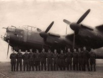 A happier photograph this time, 'H' for Harry - DV302 with Fred's ground crew friends. This famous aircraft survived the war, completing a total of 121 missions. Sadly, it was scrapped after the war in January 1947.