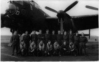 This photo shows no serial number but it looks likely to be 'D' for Dog DV388. Fred is third from the right on the rear row. Saffron Small kindly provided some additional information about this photograph. Her Grandfather, Sgt Small is 2nd from the left. Front row left to right: F/Sgt Newman - Navigator, Sgt Small - Rear Gunner, Sgt Gorman - Flight Engineer, P/O Roland - Wireless Operator, F/Lt Rodgers - Captain, Sgt Mason - Bomb Aimer, Sgt Calvert - Mid/Upper Gunner. Also part of the crew was Sgt Bonneau - Special Operator although he is not shown in the photograph. Saffron believes the aircraft to actually be SR D NF983. Many thanks Saffron for the information.