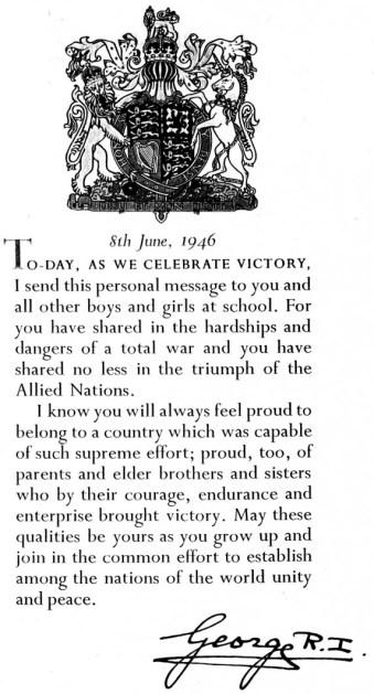 King George VI Message 1