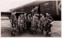 A rare photograph of Lancaster DV 267, 'K' for King and it's crew. The photo is date stamped 1944. W/O Jack Laurens (Pilot). Sgt Don Bolt (MUG). Flt Sgt Les Burton (Nav). Sgt Ted Royston (Rear Gun). Sgt Davies (Spec Op). Sgt Wag Kibble (Flt Eng). Sgt Chris Aitkin (Bomb-Aimer). Sgt Cass Waight (W/Op). This photograph is likely one of the last to be taken of this aircraft and crew, for it was lost on the night of 19th/20th Feb 1944. W/O Laurens and three of his crew died that night, five crewmen survived.